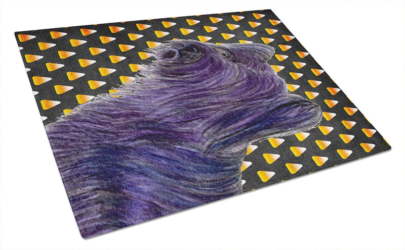 Buy this Skye Terrier Candy Corn Halloween Portrait Glass Cutting Board Large