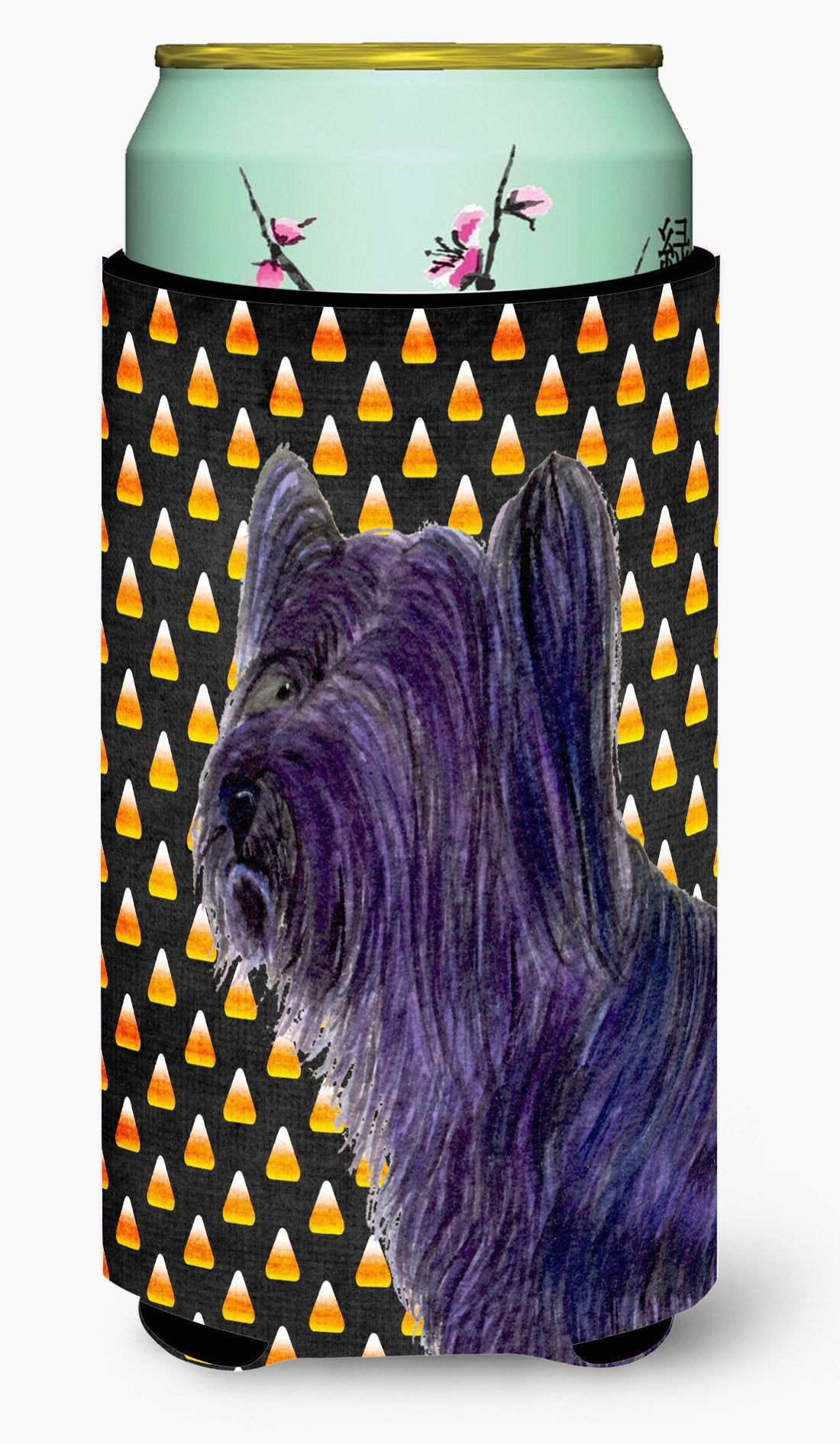 Buy this Skye Terrier Candy Corn Halloween Portrait  Tall Boy Beverage Insulator Beverage Insulator Hugger
