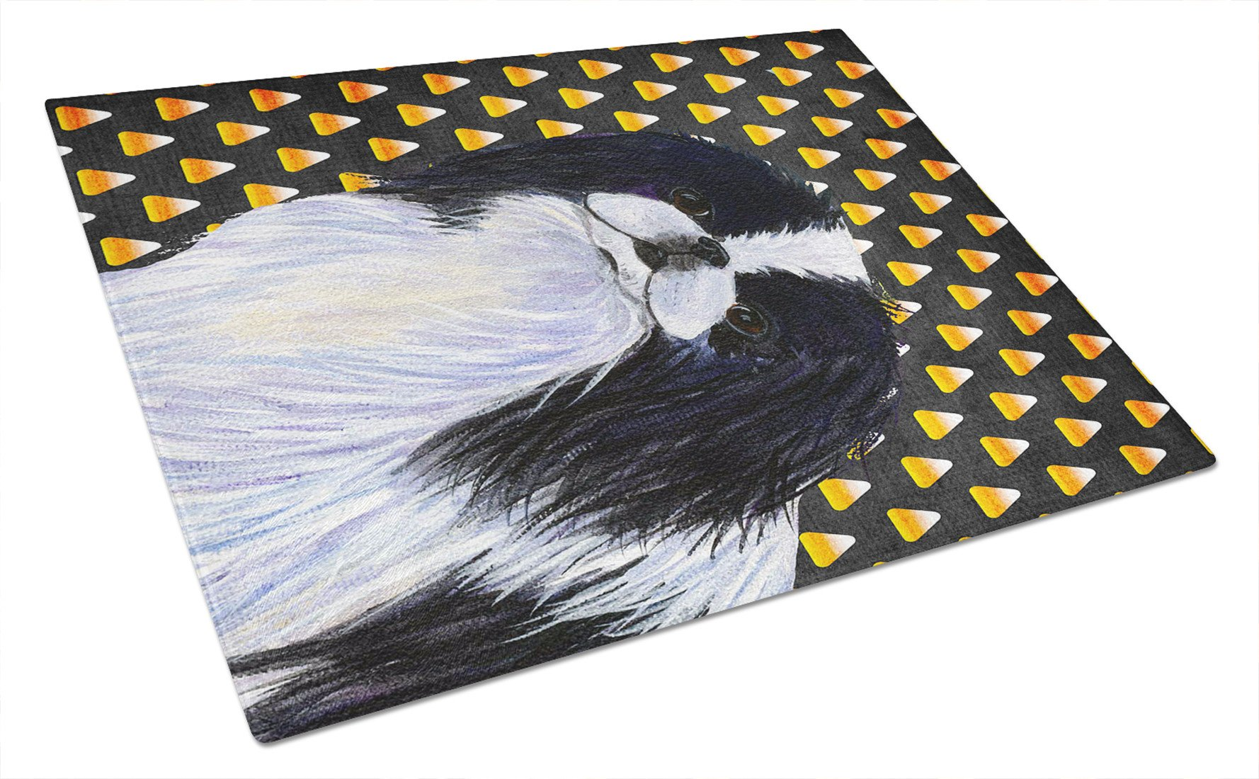 Japanese Chin Candy Corn Halloween Portrait Glass Cutting Board Large by Caroline's Treasures
