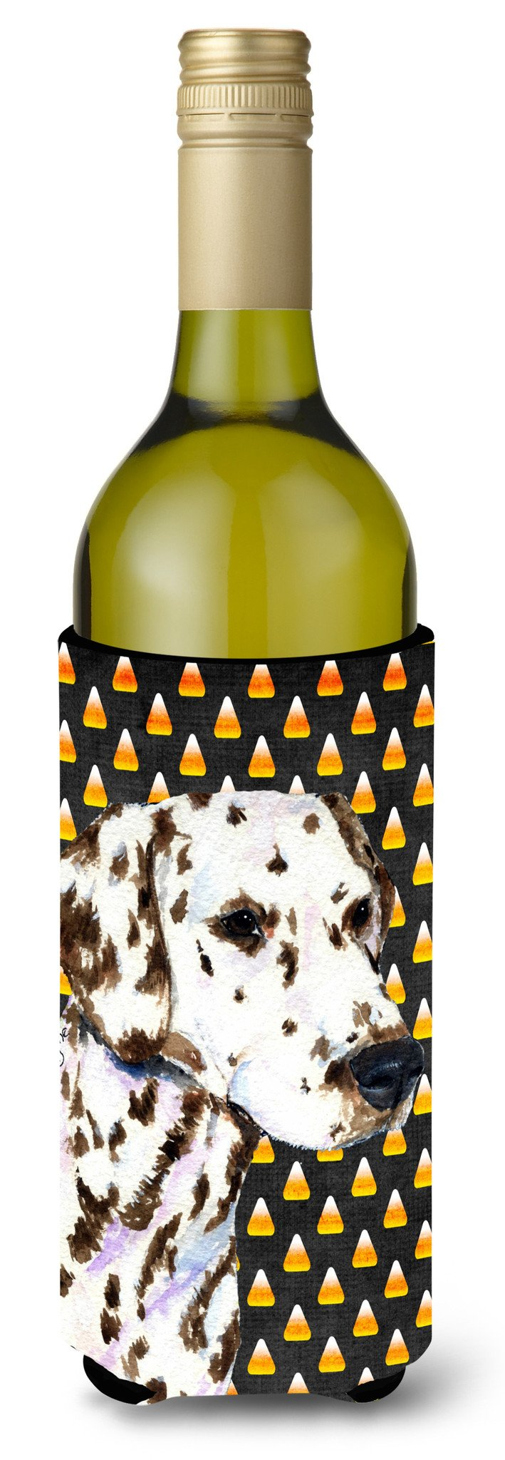 Dalmatian Candy Corn Halloween Portrait Wine Bottle Beverage Insulator Beverage Insulator Hugger by Caroline's Treasures