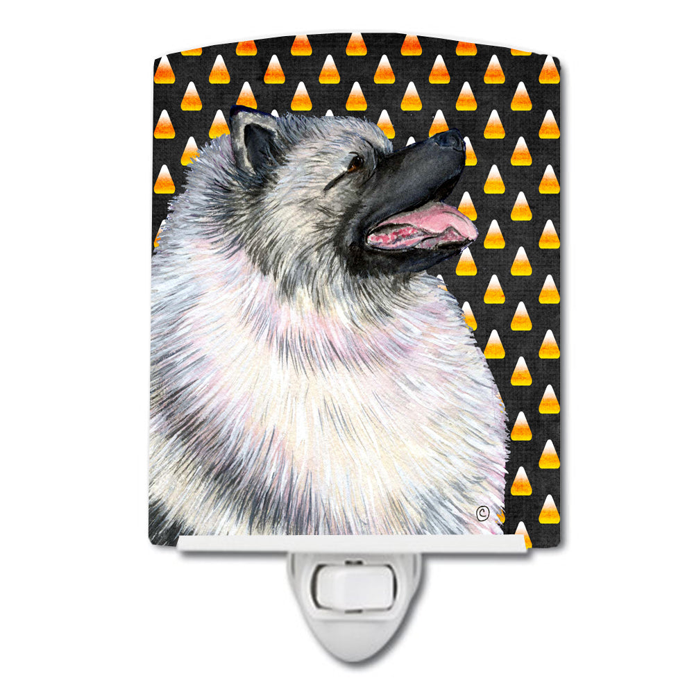 Buy this Keeshond Candy Corn Halloween Portrait Ceramic Night Light SS4282CNL