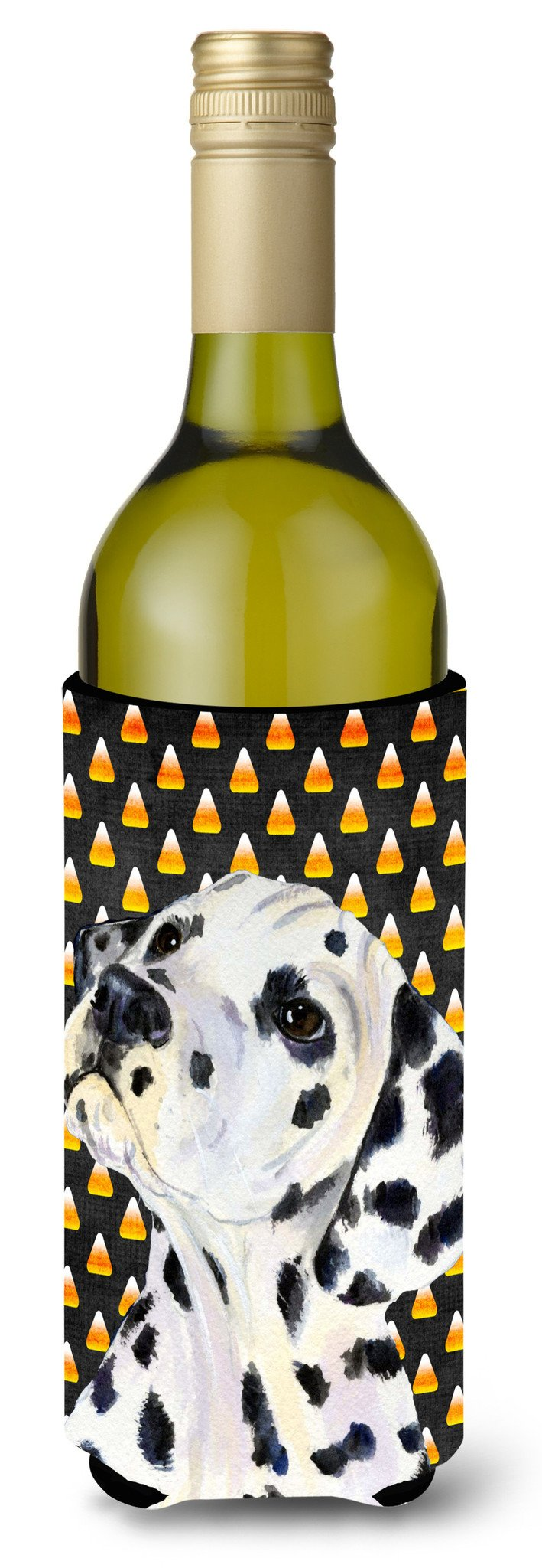 Dalmatian Candy Corn Halloween Portrait Wine Bottle Beverage Insulator Beverage Insulator Hugger SS4286LITERK by Caroline's Treasures