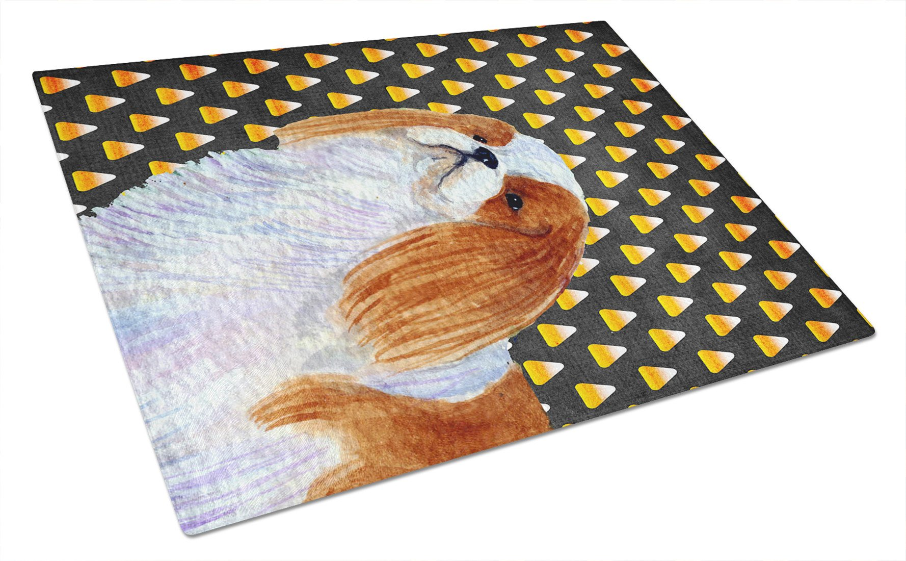 English Toy Spaniel Candy Corn Halloween Portrait Glass Cutting Board Large by Caroline's Treasures
