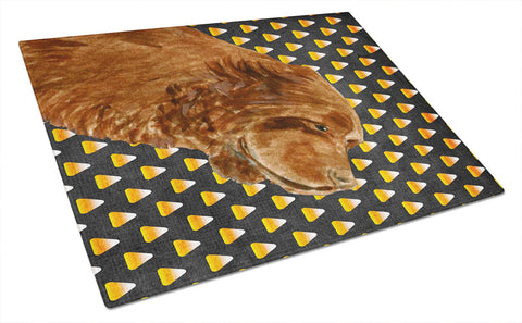 Buy this Sussex Spaniel Candy Corn Halloween Portrait Glass Cutting Board Large