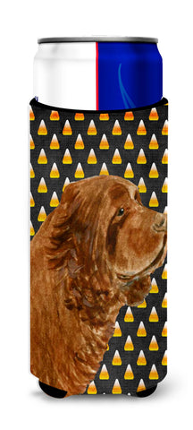 Buy this Sussex Spaniel Candy Corn Halloween Portrait Ultra Beverage Insulators for slim cans SS4303MUK