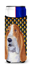 Basset Hound Candy Corn Halloween Portrait Ultra Beverage Insulators for slim cans SS4321MUK by Caroline's Treasures