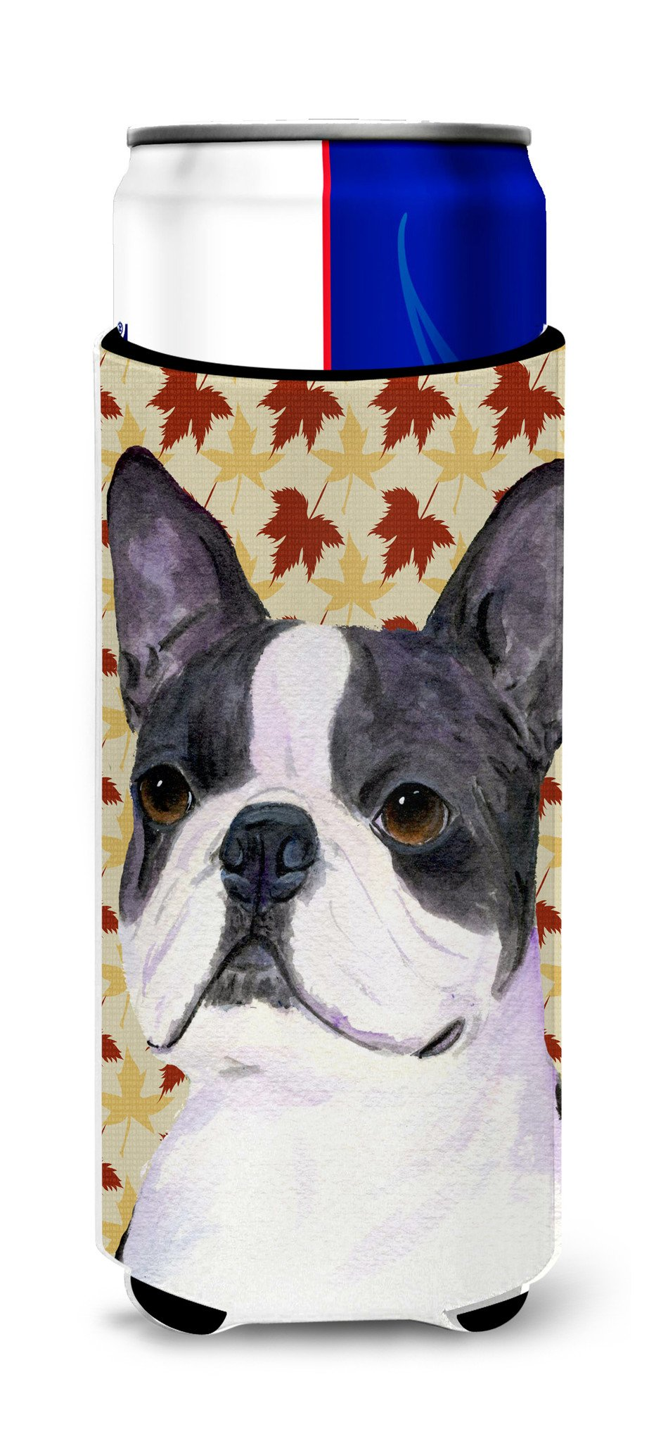 Boston Terrier Fall Leaves Portrait Ultra Beverage Insulators for slim cans SS4340MUK by Caroline's Treasures