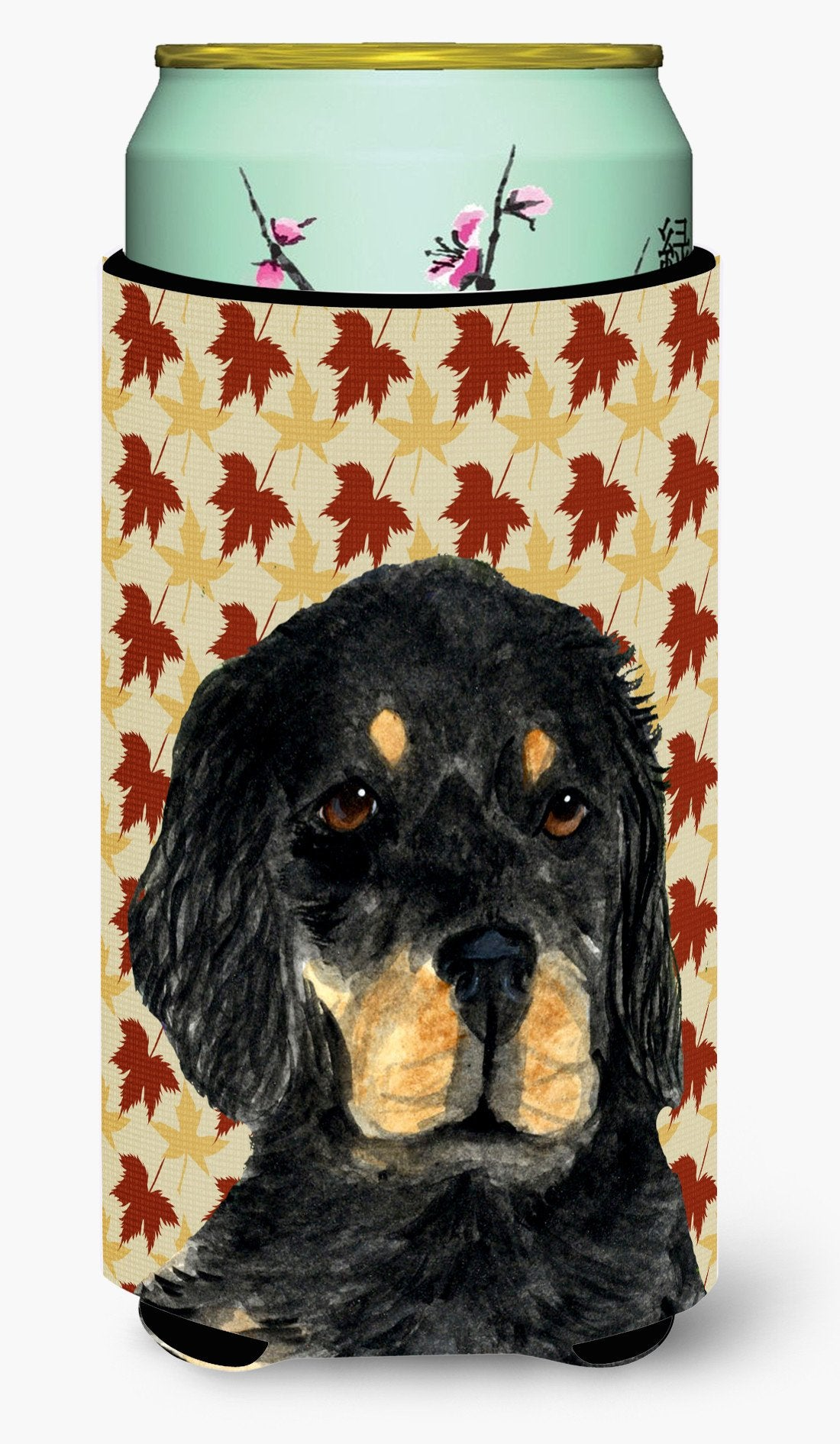 Gordon Setter Fall Leaves Portrait  Tall Boy Beverage Insulator Beverage Insulator Hugger by Caroline's Treasures