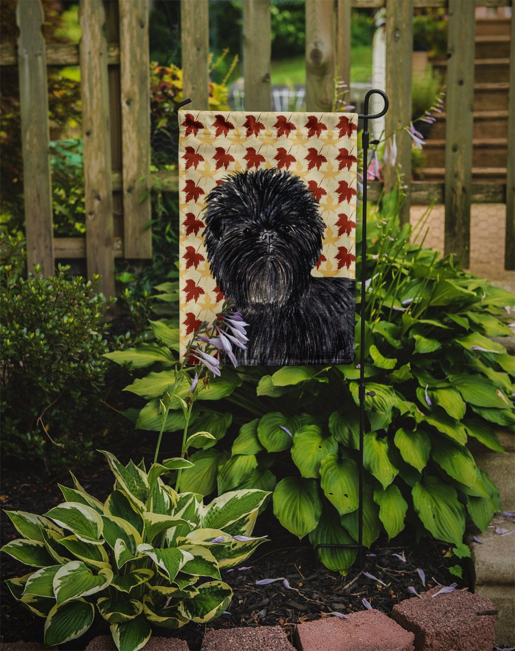Affenpinscher Fall Leaves Portrait Flag Garden Size by Caroline's Treasures