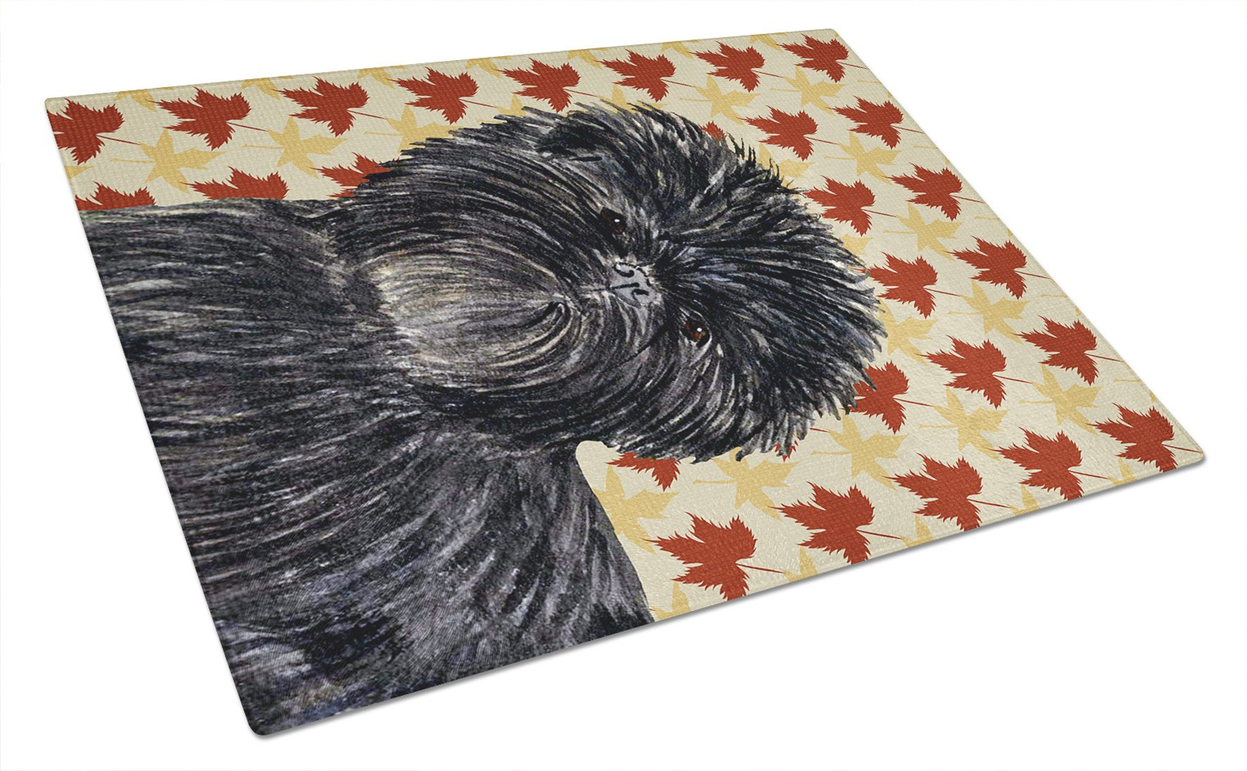 Affenpinscher Fall Leaves Portrait Glass Cutting Board Large by Caroline's Treasures