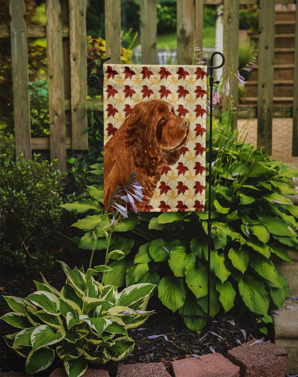 Sussex Spaniel Fall Leaves Portrait Flag Garden Size by Caroline's Treasures