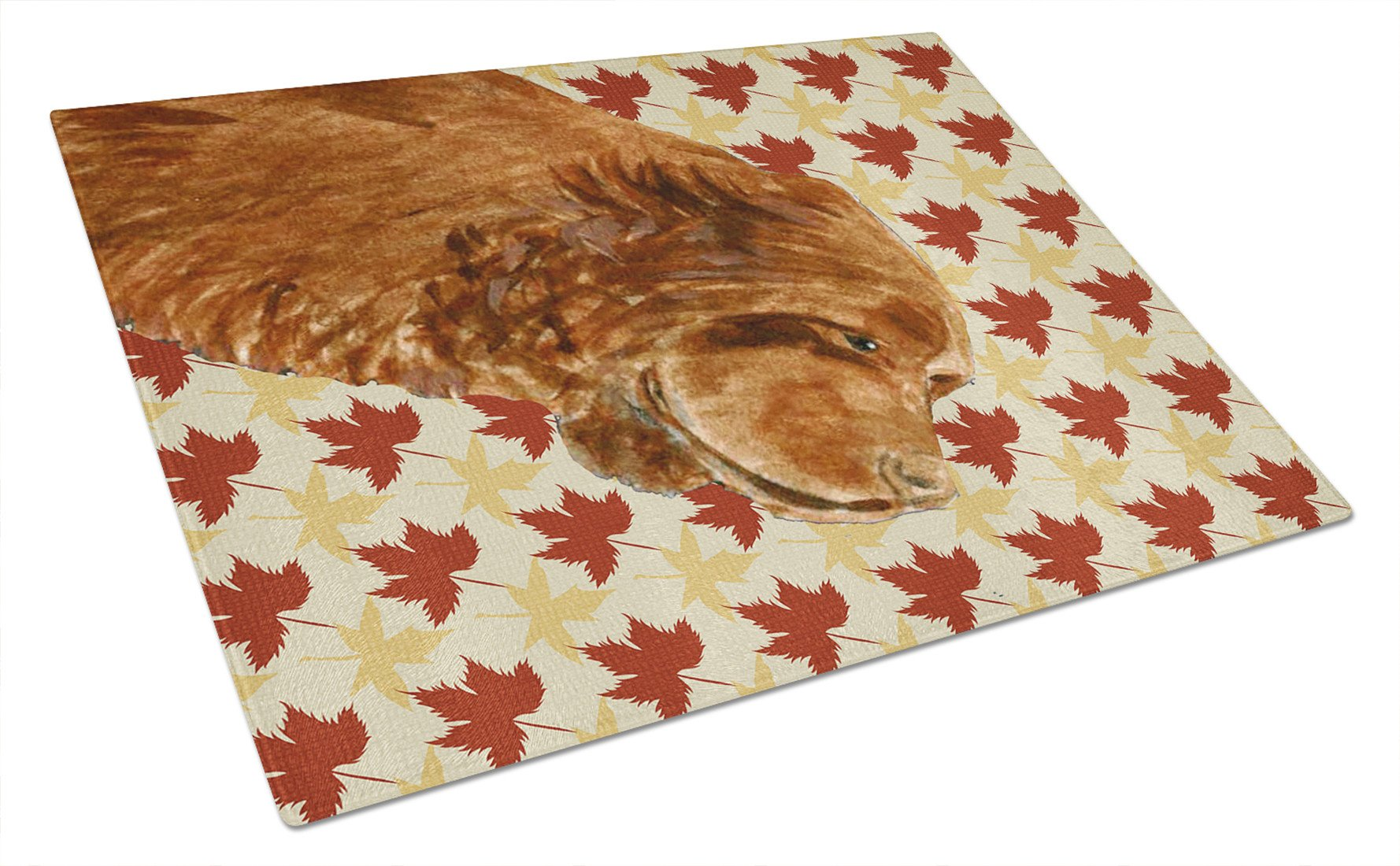 Sussex Spaniel Fall Leaves Portrait Glass Cutting Board Large by Caroline's Treasures