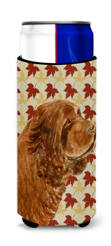 Buy this Sussex Spaniel Fall Leaves Portrait Ultra Beverage Insulators for slim cans SS4346MUK
