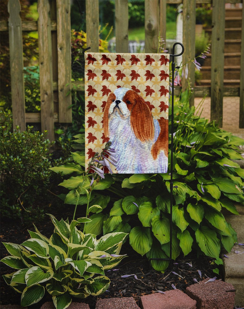Buy this English Toy Spaniel Fall Leaves Portrait Flag Garden Size