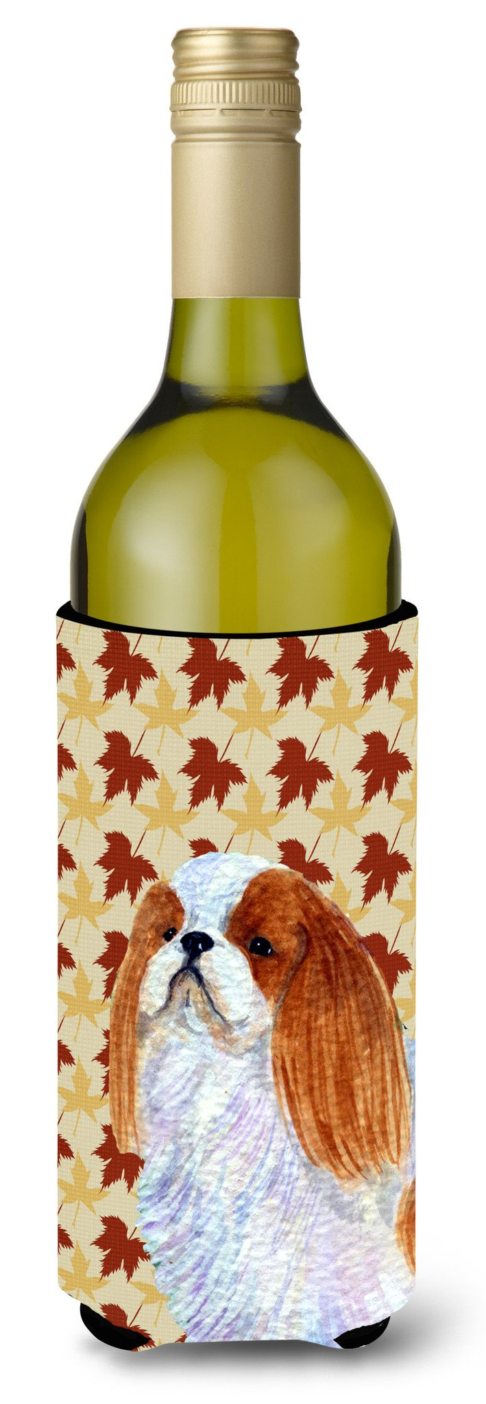 Buy this English Toy Spaniel Fall Leaves Portrait Wine Bottle Beverage Insulator Beverage Insulator Hugger