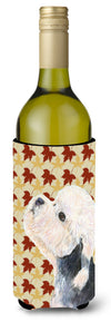 Buy this Dandie Dinmont Terrier Fall Leaves Portrait Wine Bottle Beverage Insulator Beverage Insulator Hugger