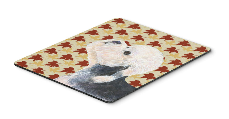 Dandie Dinmont Terrier Fall Leaves Portrait Mouse Pad, Hot Pad or Trivet by Caroline's Treasures
