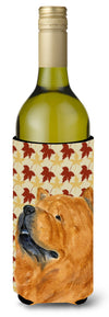 Chow Chow Fall Leaves Portrait Wine Bottle Beverage Insulator Beverage Insulator Hugger by Caroline's Treasures
