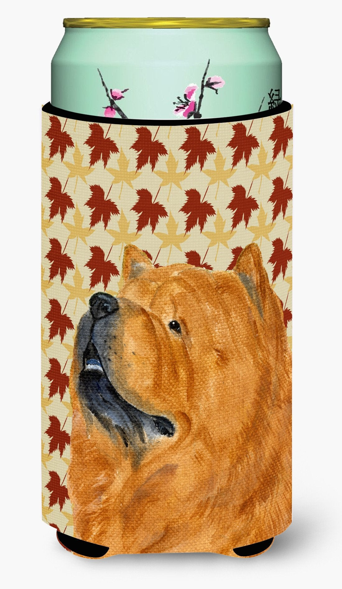 Chow Chow Fall Leaves Portrait  Tall Boy Beverage Insulator Beverage Insulator Hugger by Caroline's Treasures