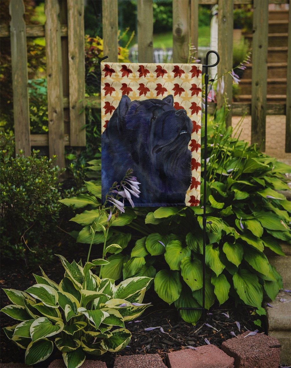 Chow Chow Fall Leaves Portrait Flag Garden Size by Caroline's Treasures