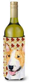 Bull Terrier Fall Leaves Portrait Wine Bottle Beverage Insulator Beverage Insulator Hugger by Caroline's Treasures