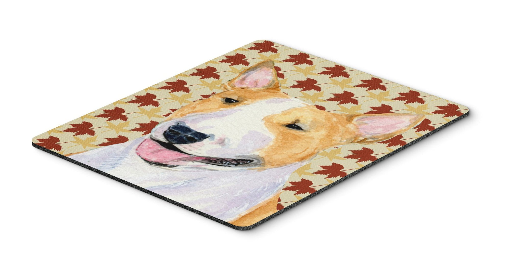 Bull Terrier Fall Leaves Portrait Mouse Pad, Hot Pad or Trivet by Caroline's Treasures