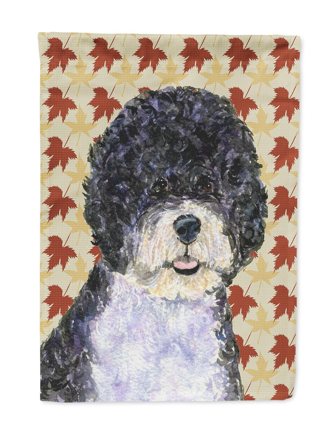 Portuguese Water Dog Fall Leaves Portrait Flag Garden Size by Caroline's Treasures