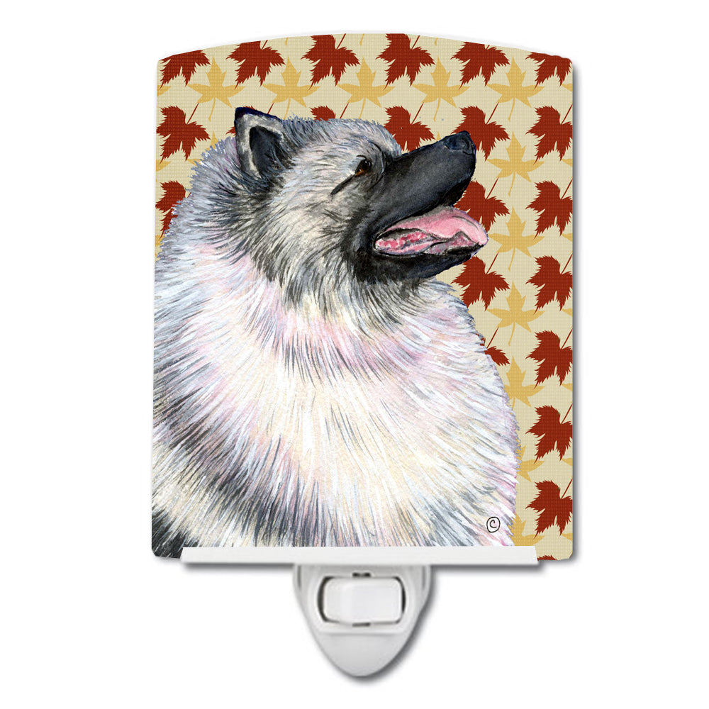 Keeshond Fall Leaves Portrait Ceramic Night Light SS4368CNL by Caroline's Treasures