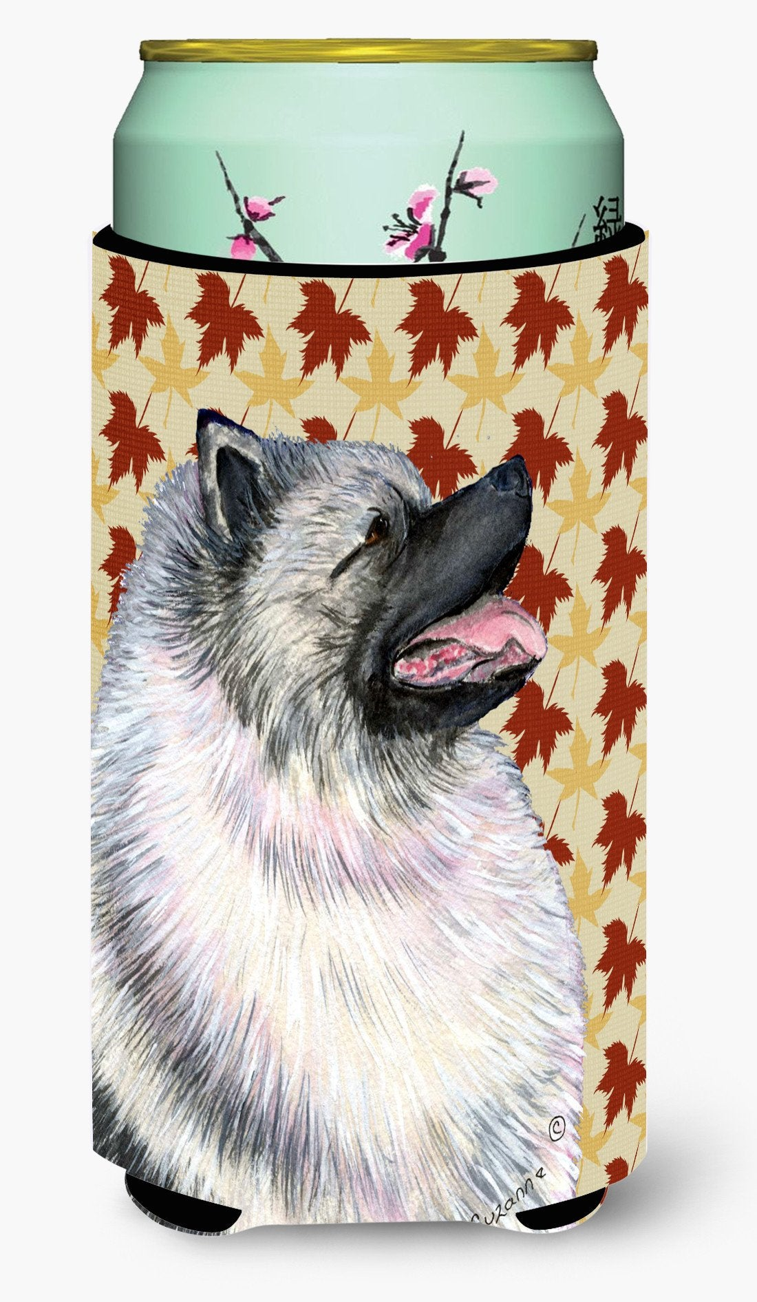 Keeshond Fall Leaves Portrait  Tall Boy Beverage Insulator Beverage Insulator Hugger by Caroline's Treasures