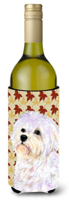 Buy this Maltese Fall Leaves Portrait Wine Bottle Beverage Insulator Beverage Insulator Hugger SS4375LITERK