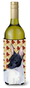 Buy this Rat Terrier Fall Leaves Portrait Wine Bottle Beverage Insulator Beverage Insulator Hugger