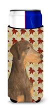 Doberman Fall Leaves Portrait Ultra Beverage Insulators for slim cans SS4377MUK by Caroline's Treasures