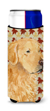 Golden Retriever Fall Leaves Portrait Ultra Beverage Insulators for slim cans SS4380MUK by Caroline's Treasures