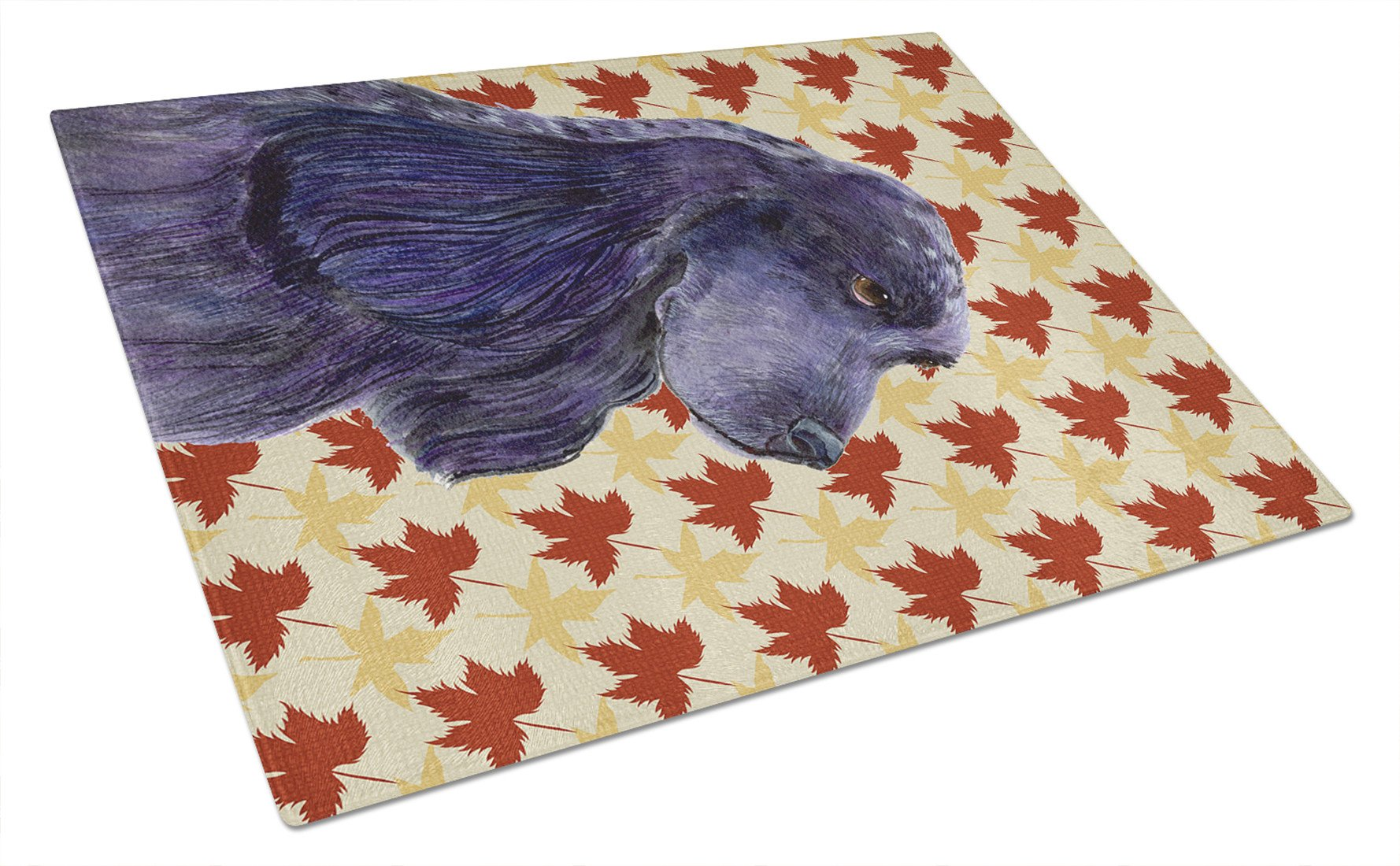 Cocker Spaniel Fall Leaves Portrait Glass Cutting Board Large by Caroline's Treasures