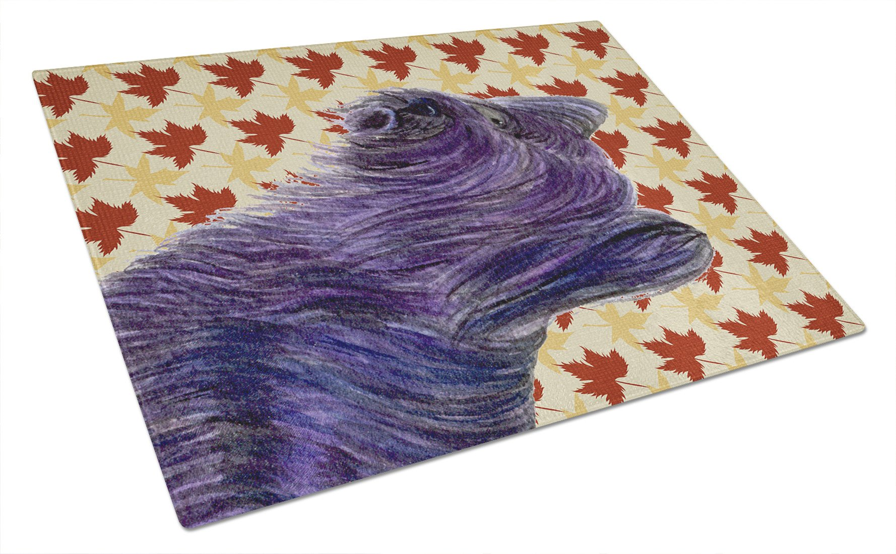 Skye Terrier Fall Leaves Portrait Glass Cutting Board Large by Caroline's Treasures