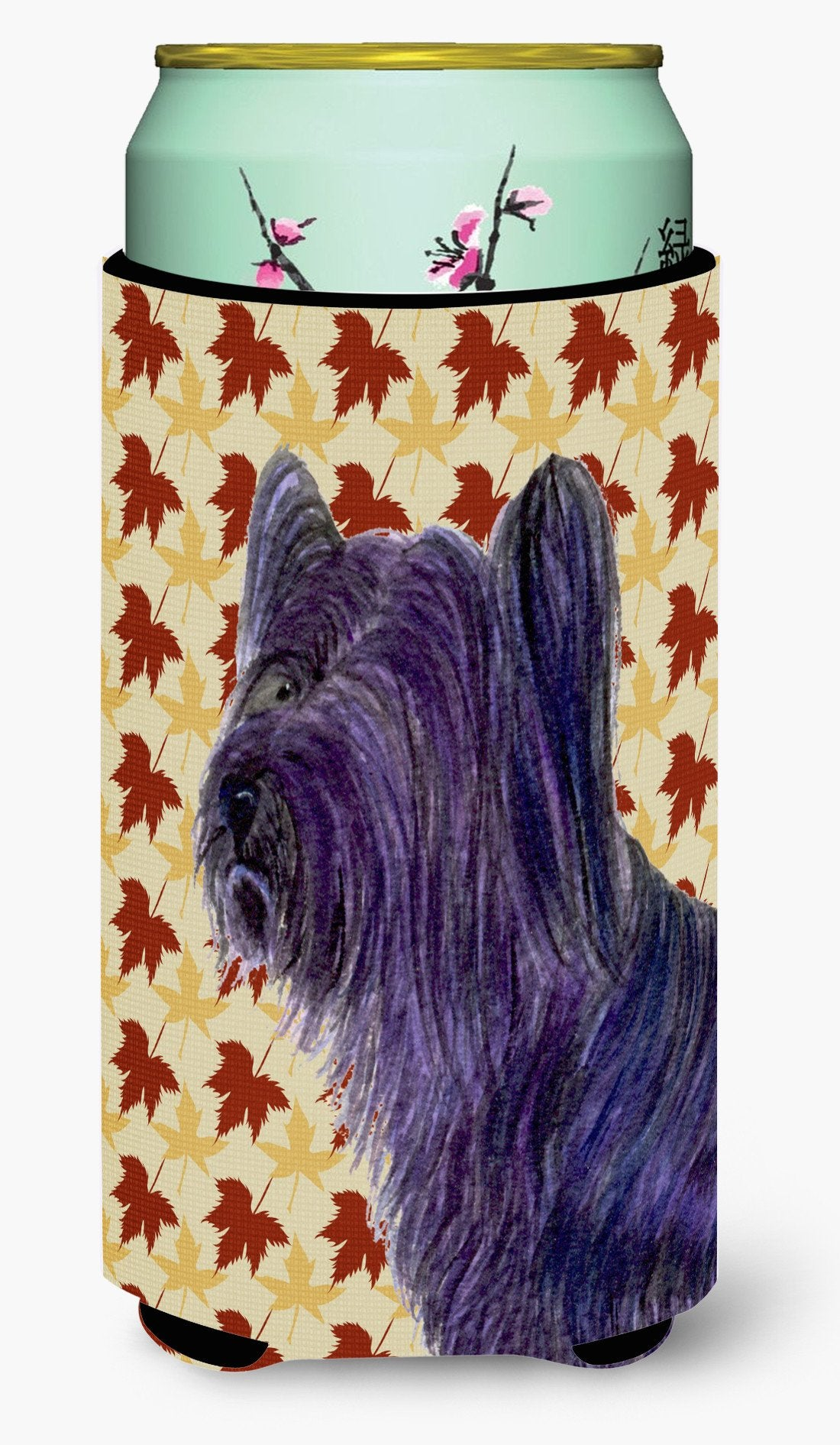 Skye Terrier Fall Leaves Portrait  Tall Boy Beverage Insulator Beverage Insulator Hugger by Caroline's Treasures
