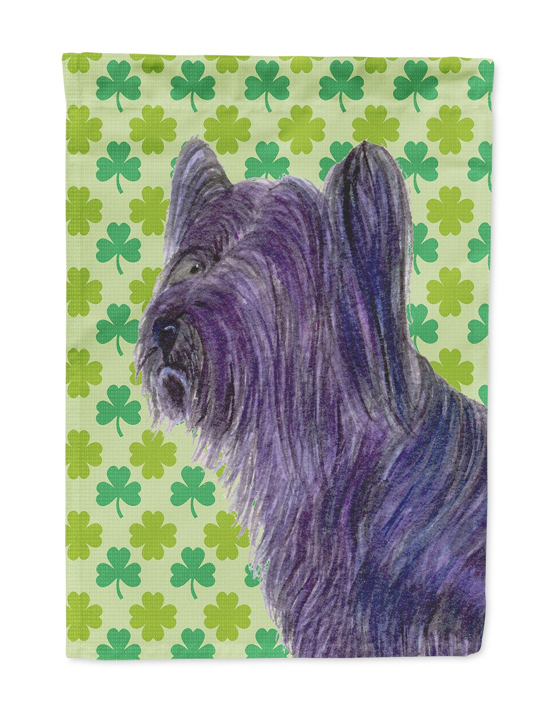 Skye Terrier St. Patrick's Day Shamrock Portrait Flag Garden Size by Caroline's Treasures