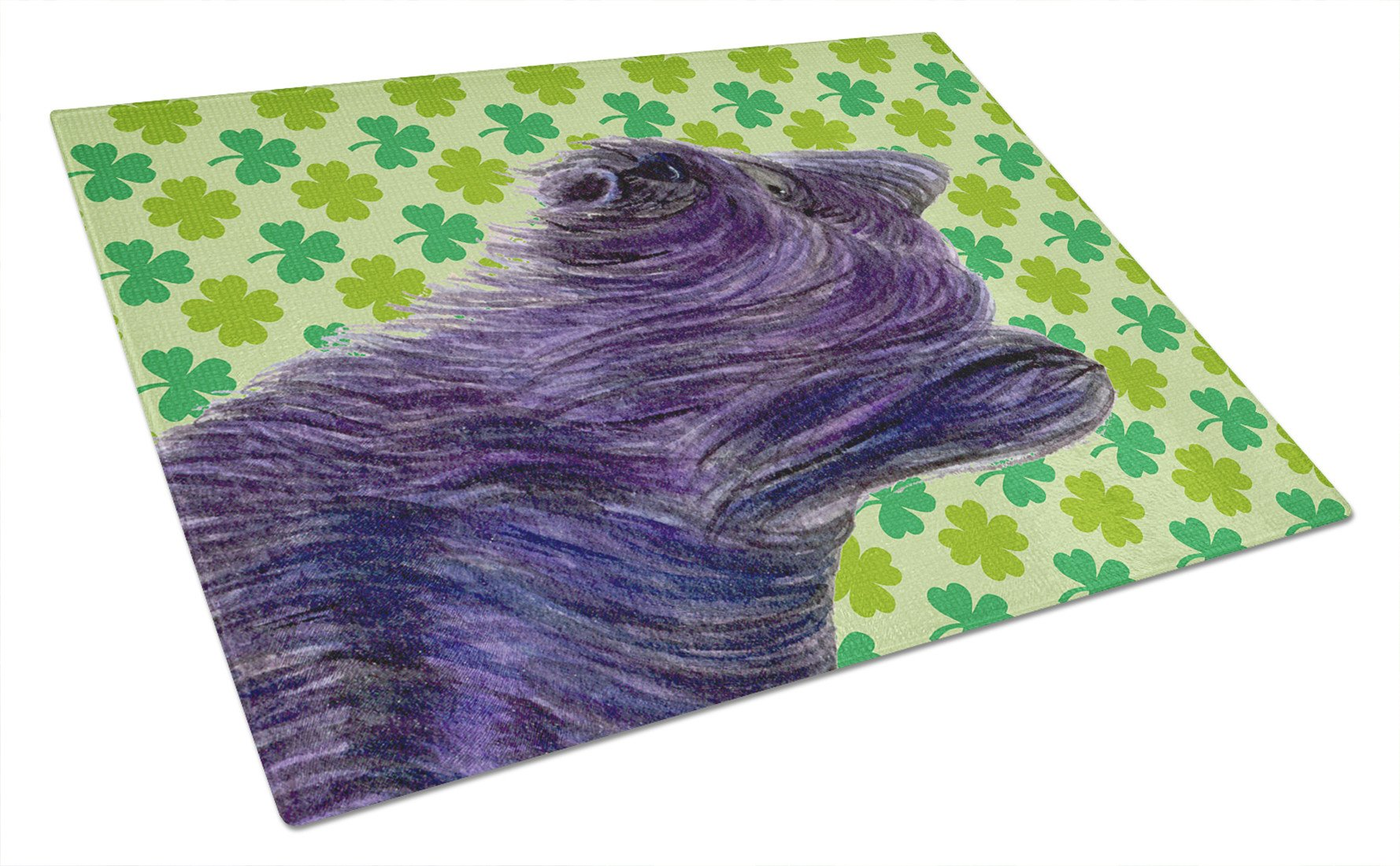 Buy this Skye Terrier St. Patrick's Day Shamrock Portrait Glass Cutting Board Large