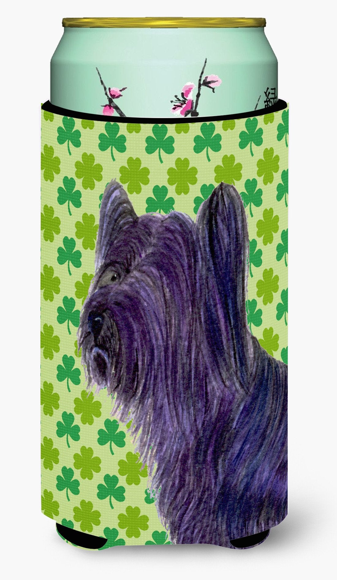 Skye Terrier St. Patrick's Day Shamrock Portrait  Tall Boy Beverage Insulator Beverage Insulator Hugger by Caroline's Treasures