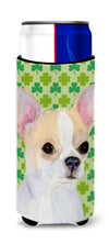 Chihuahua St. Patrick's Day Shamrock Portrait Ultra Beverage Insulators for slim cans SS4405MUK by Caroline's Treasures