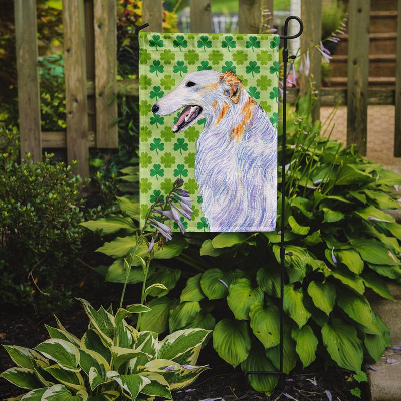 Buy this Borzoi St. Patrick's Day Shamrock Portrait Flag Garden Size