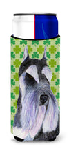 Schnauzer St. Patrick's Day Shamrock Portrait Ultra Beverage Insulators for slim cans SS4408MUK by Caroline's Treasures