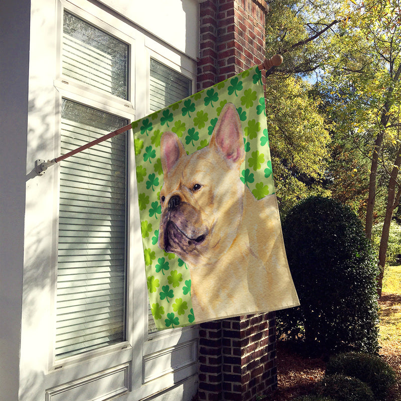Buy this French Bulldog St. Patrick's Day Shamrock Flag Canvas House Size