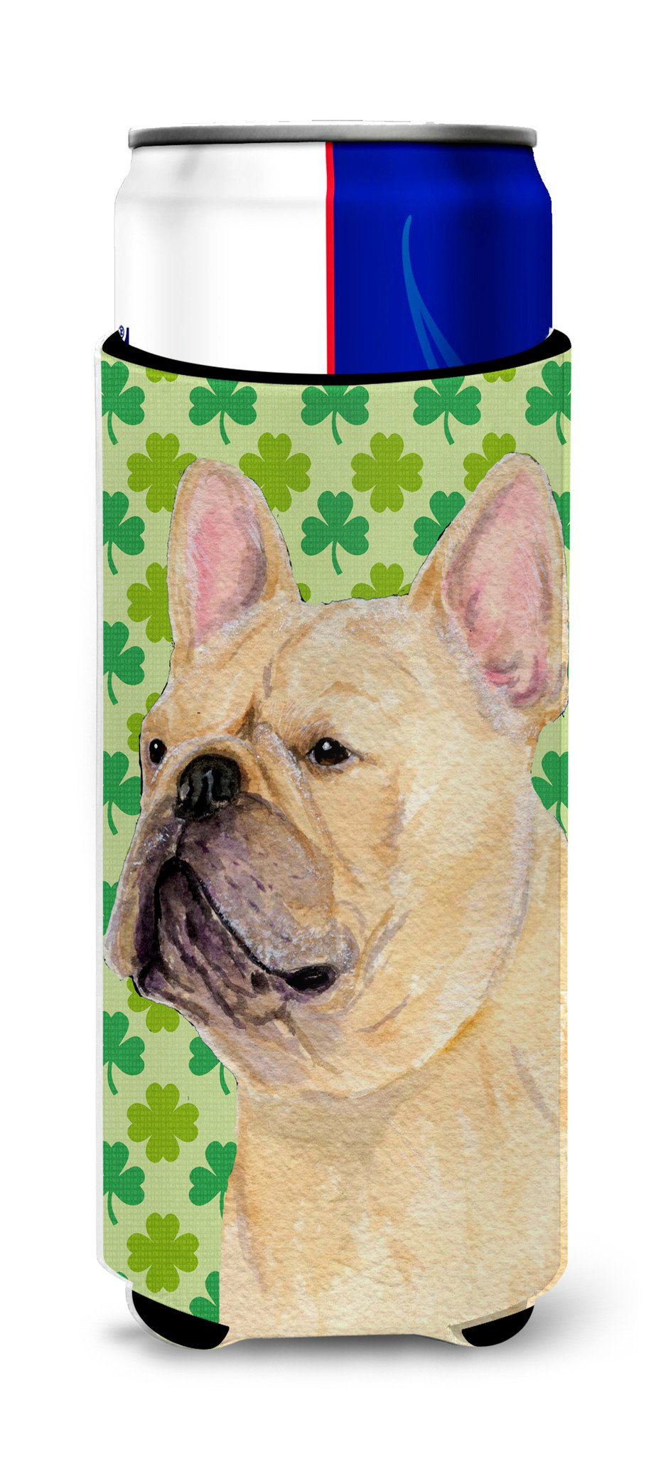 Buy this French Bulldog St. Patrick's Day Shamrock Portrait Ultra Beverage Insulators for slim cans SS4416MUK