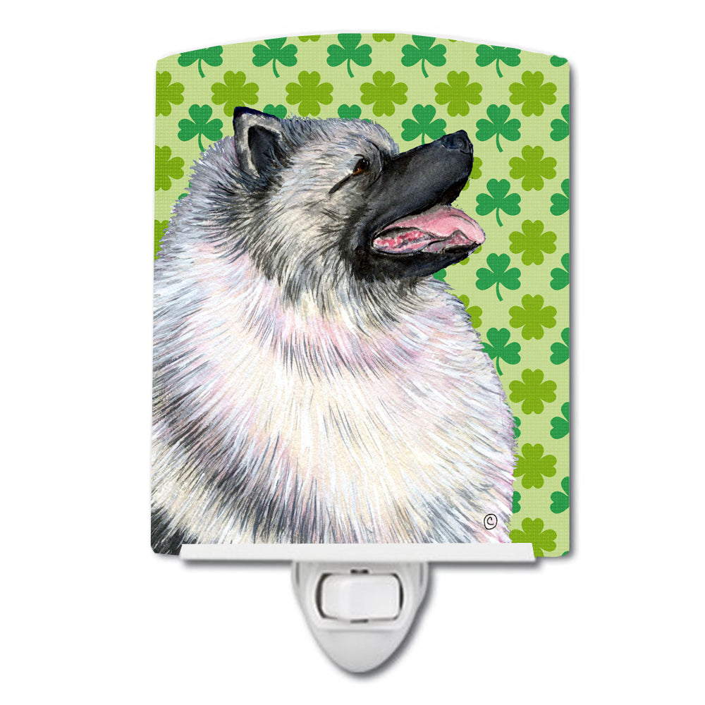 Buy this Keeshond St. Patrick's Day Shamrock Portrait Ceramic Night Light SS4419CNL