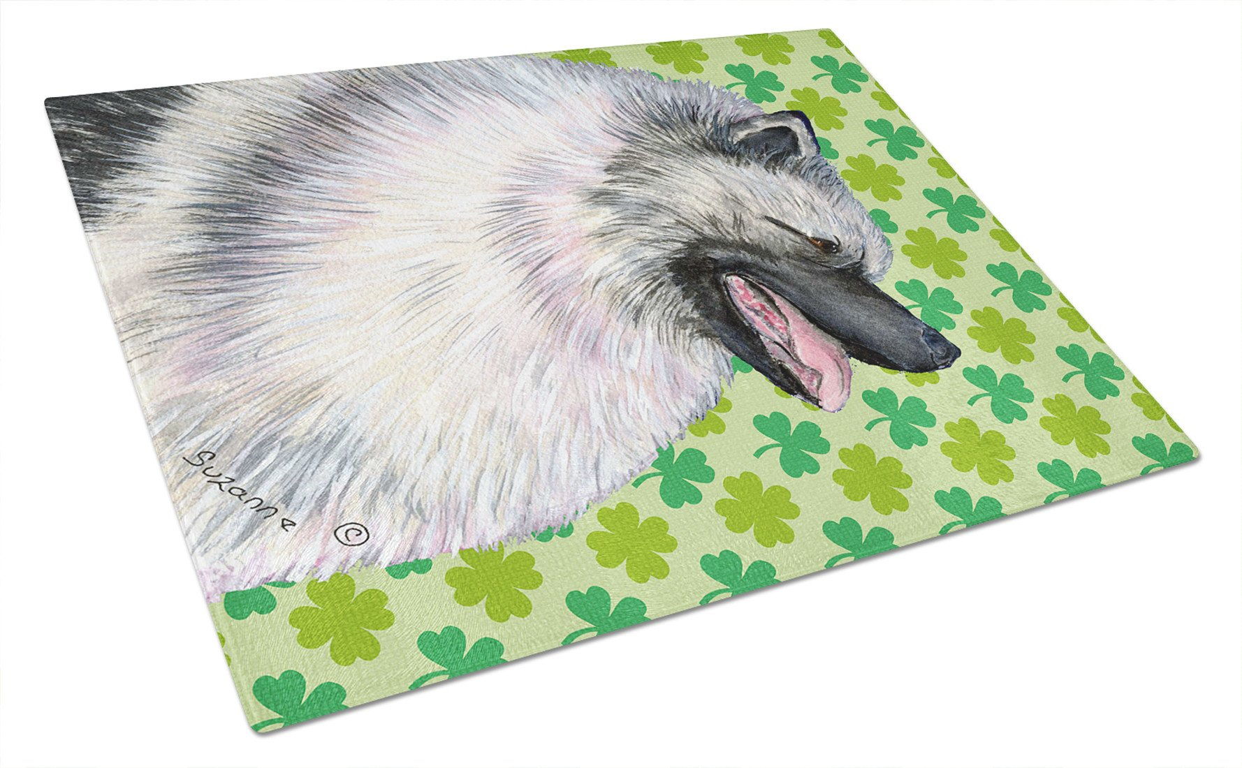 Keeshond St. Patrick's Day Shamrock Portrait Glass Cutting Board Large by Caroline's Treasures