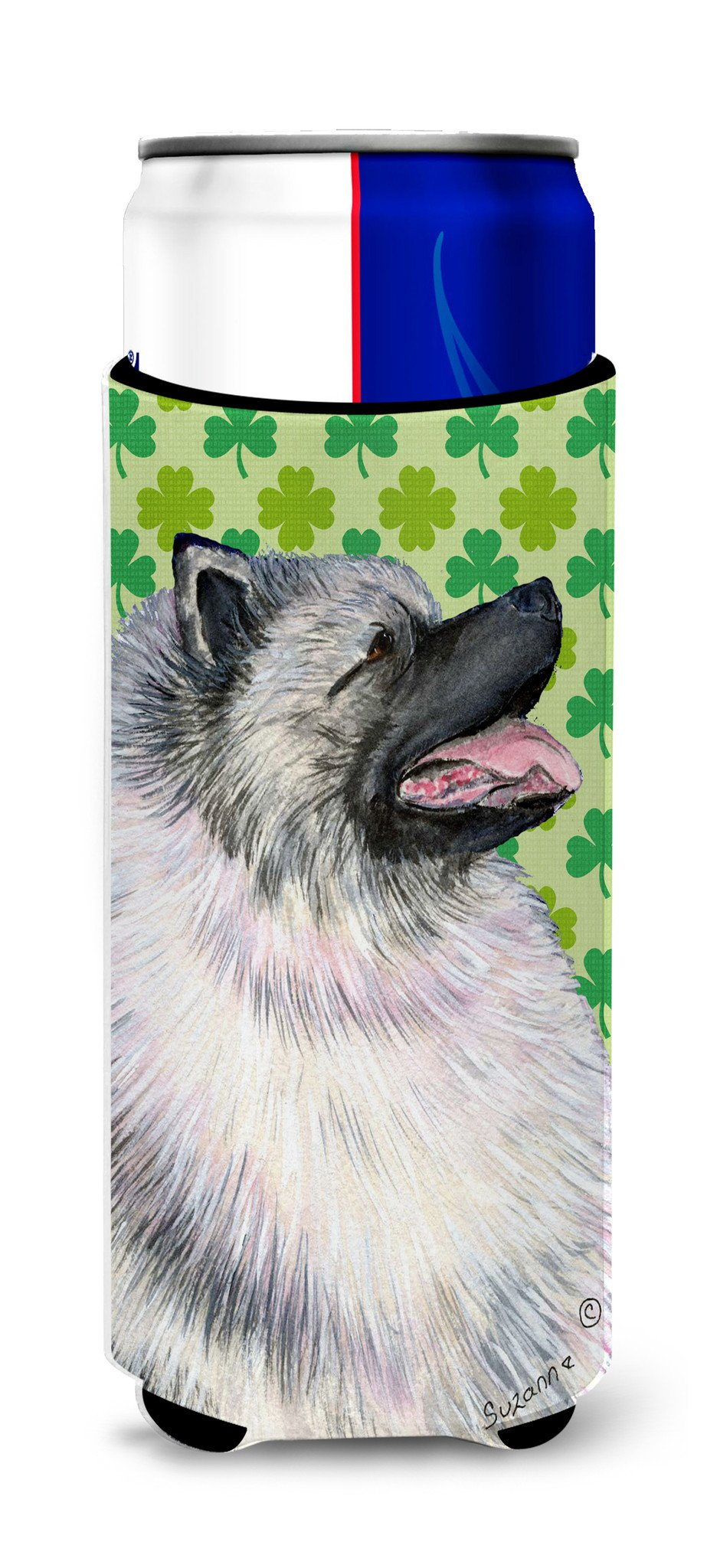Keeshond St. Patrick's Day Shamrock Portrait Ultra Beverage Insulators for slim cans SS4419MUK by Caroline's Treasures