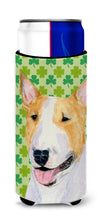 Bull Terrier St. Patrick's Day Shamrock Portrait Ultra Beverage Insulators for slim cans SS4427MUK by Caroline's Treasures