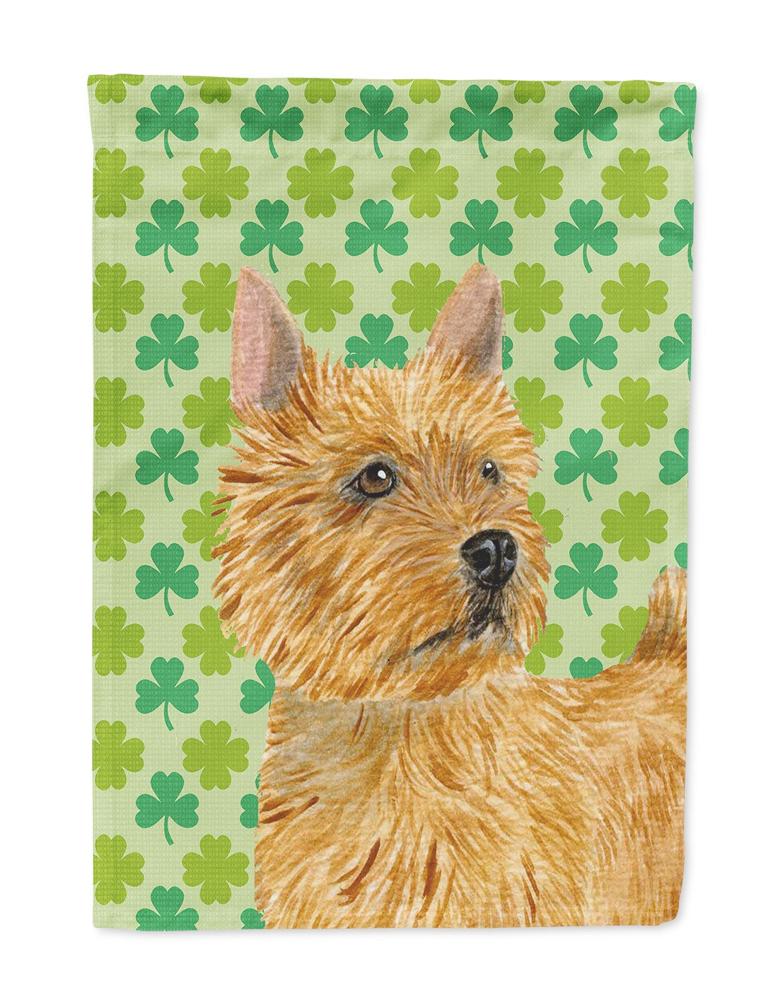 Buy this Norwich Terrier St. Patrick's Day Shamrock Portrait Flag Garden Size