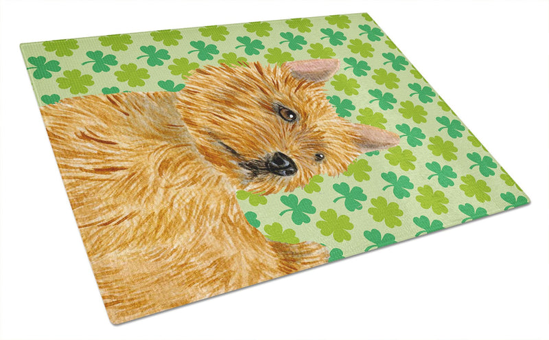 Buy this Norwich Terrier St. Patrick's Day Shamrock Portrait Glass Cutting Board Large